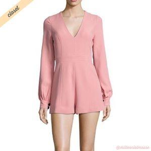 [Alexis] Pink Kourtney V-Neck Long Sleeve Romper